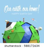 happy earth day poster. vector... | Shutterstock .eps vector #588172634