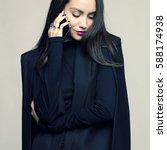 fashion portrait of stylish... | Shutterstock . vector #588174938