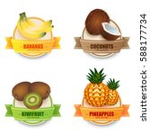 fruit labels realistic set with ... | Shutterstock .eps vector #588177734