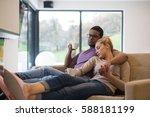 young romantic multiethnic... | Shutterstock . vector #588181199