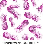 seamless pattern. pineapple... | Shutterstock .eps vector #588181319