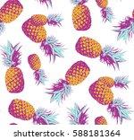 seamless pattern. pineapple... | Shutterstock .eps vector #588181364