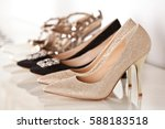 background with beautiful shoes ... | Shutterstock . vector #588183518