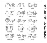 fruit hand drawn icon set in...   Shutterstock .eps vector #588184958