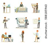 architect profession set of... | Shutterstock .eps vector #588185960