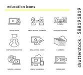 education icons set  social... | Shutterstock .eps vector #588191819