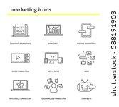 marketing icons set  content ...