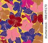 bright hawaiian design with... | Shutterstock . vector #588195170