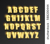 golden alphabet on  transparent ... | Shutterstock .eps vector #588200444