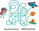 space maze for kids. | Shutterstock .eps vector #588202040