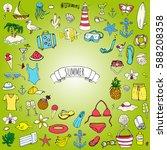 hand drawn doodle summer set... | Shutterstock .eps vector #588208358