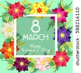 postcard for march 8. women's... | Shutterstock .eps vector #588216110