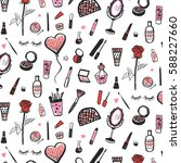 hand drawn beauty and cosmetics ... | Shutterstock .eps vector #588227660