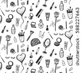 hand drawn beauty and cosmetics ... | Shutterstock .eps vector #588227663