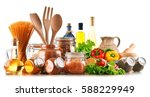 assorted food products and... | Shutterstock . vector #588229949
