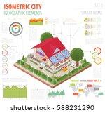 flat 3d isometric smart home... | Shutterstock .eps vector #588231290