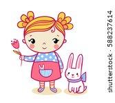 little girl holding a flower....   Shutterstock .eps vector #588237614
