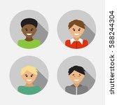 flat design avatar set of... | Shutterstock .eps vector #588244304