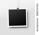 blank photo frame set hanging... | Shutterstock .eps vector #588251453