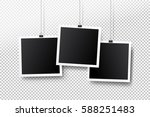 blank photo frame set hanging... | Shutterstock .eps vector #588251483