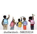 classmates friends bag school...   Shutterstock . vector #588253214