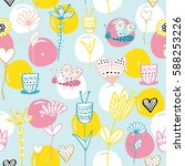 seamless pattern with flowers... | Shutterstock .eps vector #588253226