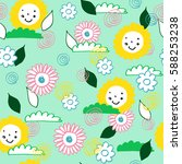 seamless pattern with flowers... | Shutterstock .eps vector #588253238