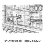 beer bar pub  long table with... | Shutterstock .eps vector #588255320