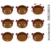 cute cartoon african girl with... | Shutterstock . vector #588258014