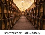 Barrel Rows In A Winery
