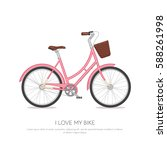 pink retro bicycle with basket... | Shutterstock .eps vector #588261998