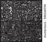 hand drawn food elements. set... | Shutterstock .eps vector #588268598