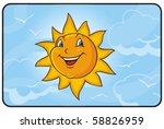 smiling sun in the sky | Shutterstock .eps vector #58826959