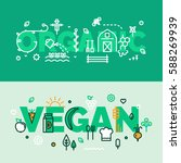 vegan and organic banner. for... | Shutterstock .eps vector #588269939