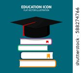 graduation cap on books stacked.... | Shutterstock .eps vector #588274766