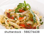 close up of pasta  with caviar ... | Shutterstock . vector #588276638