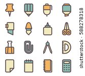 set of stationery icons. vector ... | Shutterstock .eps vector #588278318