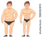 Cartoon Muscular And Fat Man ...