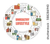 unealthy lifestyle habits... | Shutterstock .eps vector #588286940