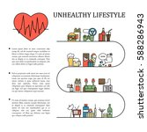 unhealthy lifestyle vector... | Shutterstock .eps vector #588286943
