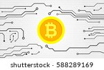 bitcoin currency. web banner.... | Shutterstock .eps vector #588289169