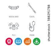 medical mask  pills and scalpel ...   Shutterstock .eps vector #588291788