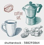 coffee set. collection of hand... | Shutterstock .eps vector #588293864