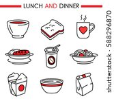 lunch and dinner icon set.... | Shutterstock .eps vector #588296870
