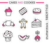 cakes and cookies icon set.... | Shutterstock .eps vector #588297410