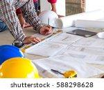 engineer architect worker man... | Shutterstock . vector #588298628