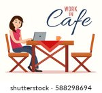 woman working on laptop in... | Shutterstock .eps vector #588298694