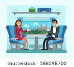 passenger train inside. man and ... | Shutterstock .eps vector #588298700
