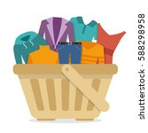 shopping basket with clothes.... | Shutterstock .eps vector #588298958