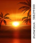 Illustration Of Sunset View In...
